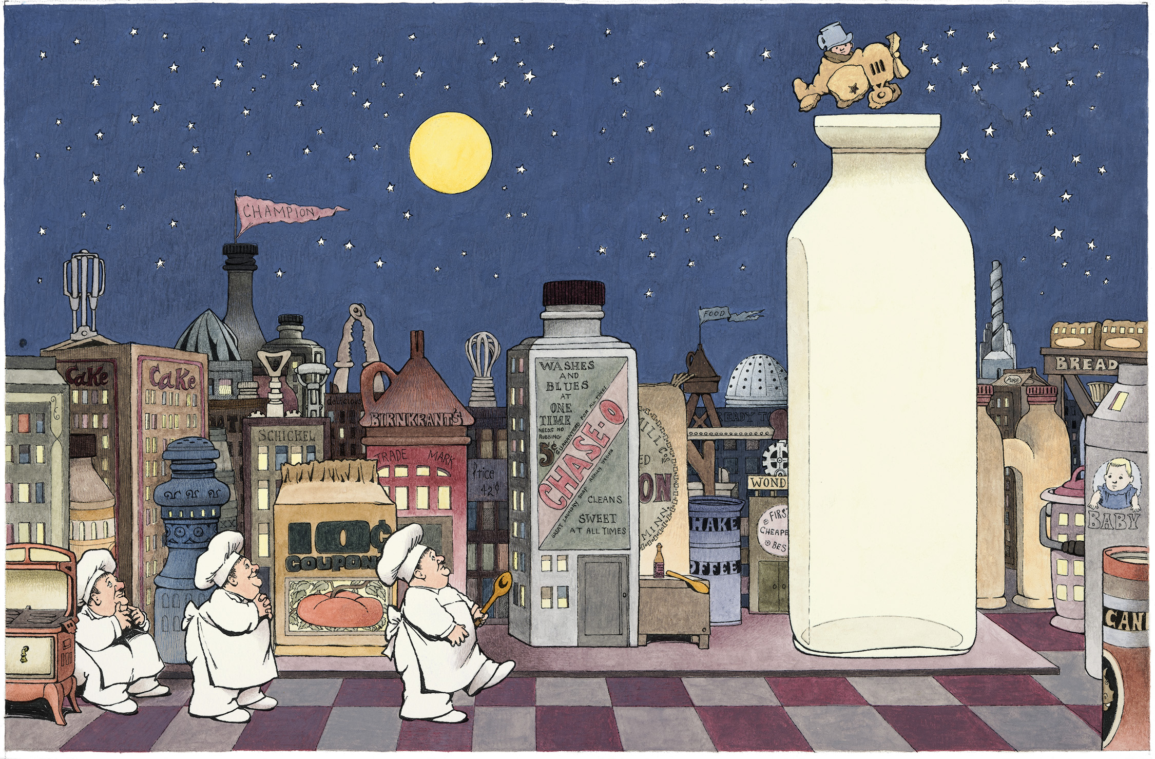 Color final drawing for Maurice Sendak's In the Night Kitchen book. Picture depicts three bakers on the ground awaiting a delivery of milk from the main character, Mickey.