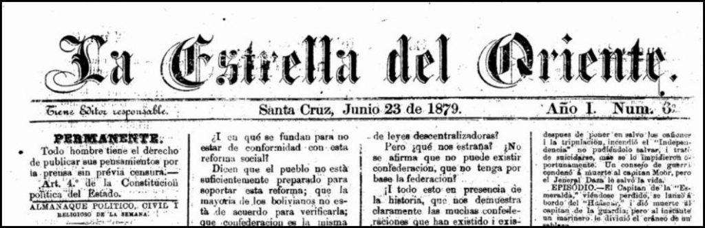 Nameplate of the newspaper, Estrella de Oriente, from Bolivia