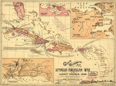 Goff's historical map of the Spanish-American War in the West Indies, 1898.