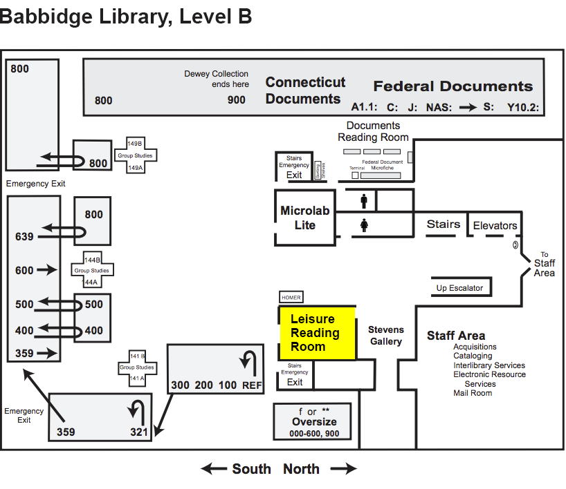 Babbidge Library Map, Level B, Leisure Reading Room