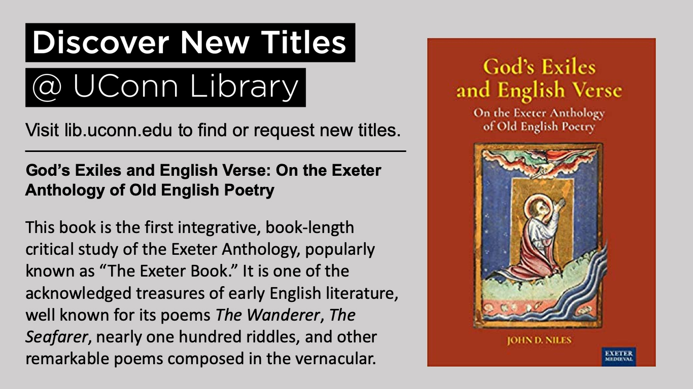 """God's Exiles and English Verse: On the Exeter Anthology of Old English Poetry This book is the first integrative, book-length critical study of the Exeter Anthology, popularly known as """"The Exeter Book."""" It is one of the acknowledged treasures of early English literature, well known for its poems The Wanderer, The Seafarer, nearly one hundred riddles, and other remarkable poems composed in the vernacular."""