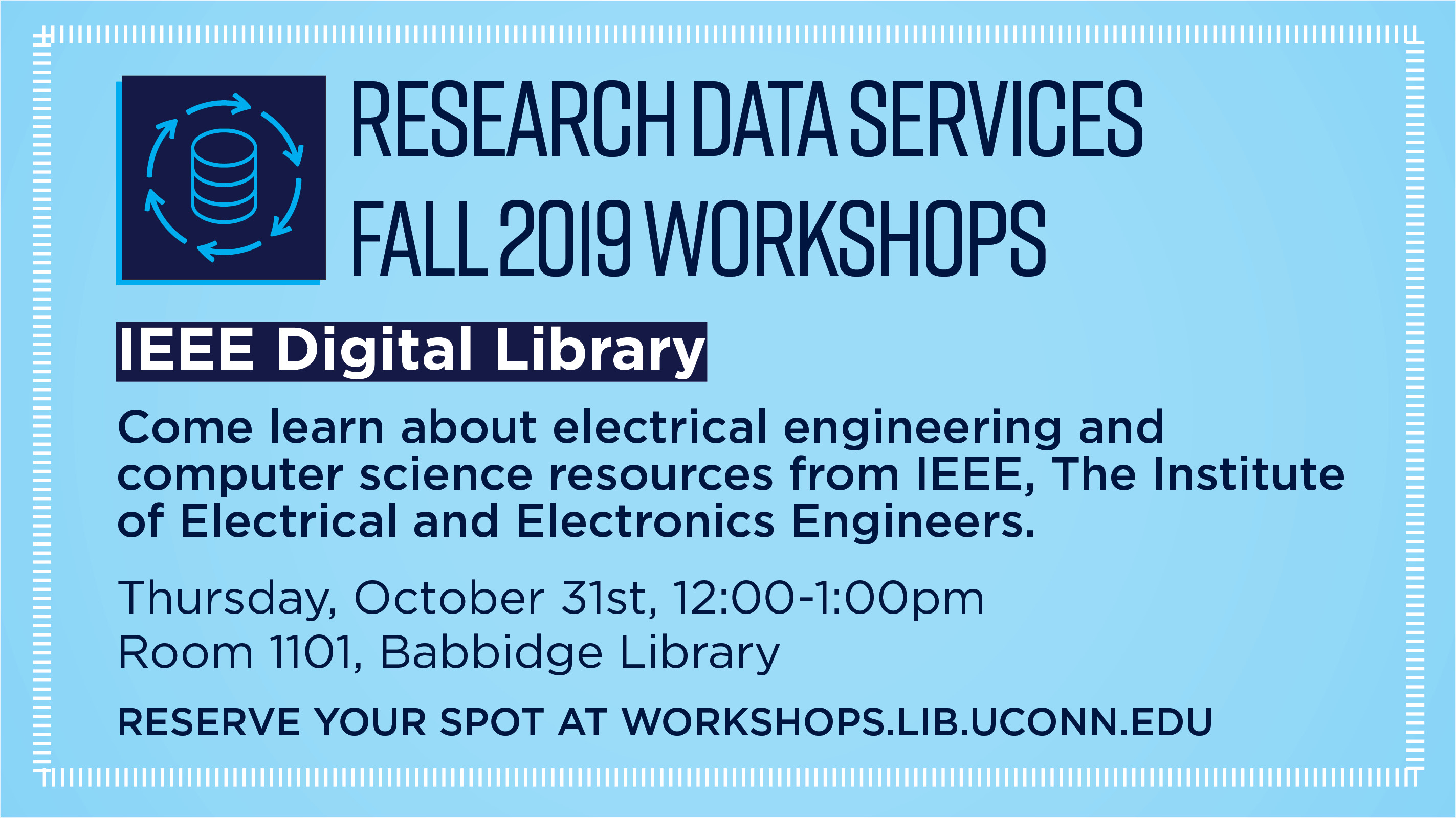 Research Data Services Fall 2019 Workshops DMPTool Do you need to create Data Management Plans for your NSF-funded grants? Come learn about the basics of writing a Data Management Plan, and learn how to use the DMPTool. The DMPTool is a free resource that guides you through the process of creating a DMP, and provides updated templates and guidance. Wednesday October 30, 3:00-4:00pm, Room 1102, Babbidge Library Reserve your spot at workshops.lib.uconn.edu