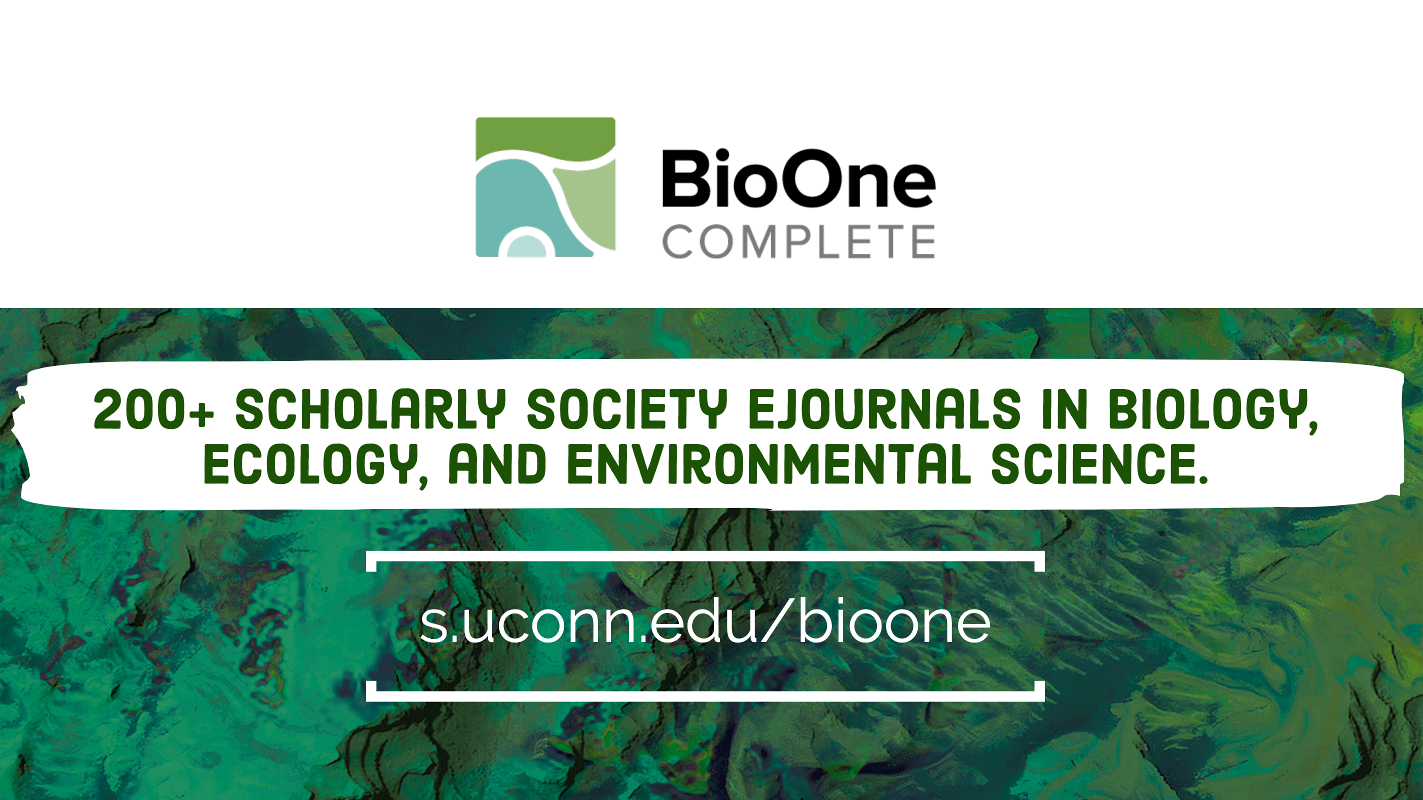 BioOne Complete 200+ scholarly society ejournals in biology, ecology, and environmental science. s.uconn.edu/bioone