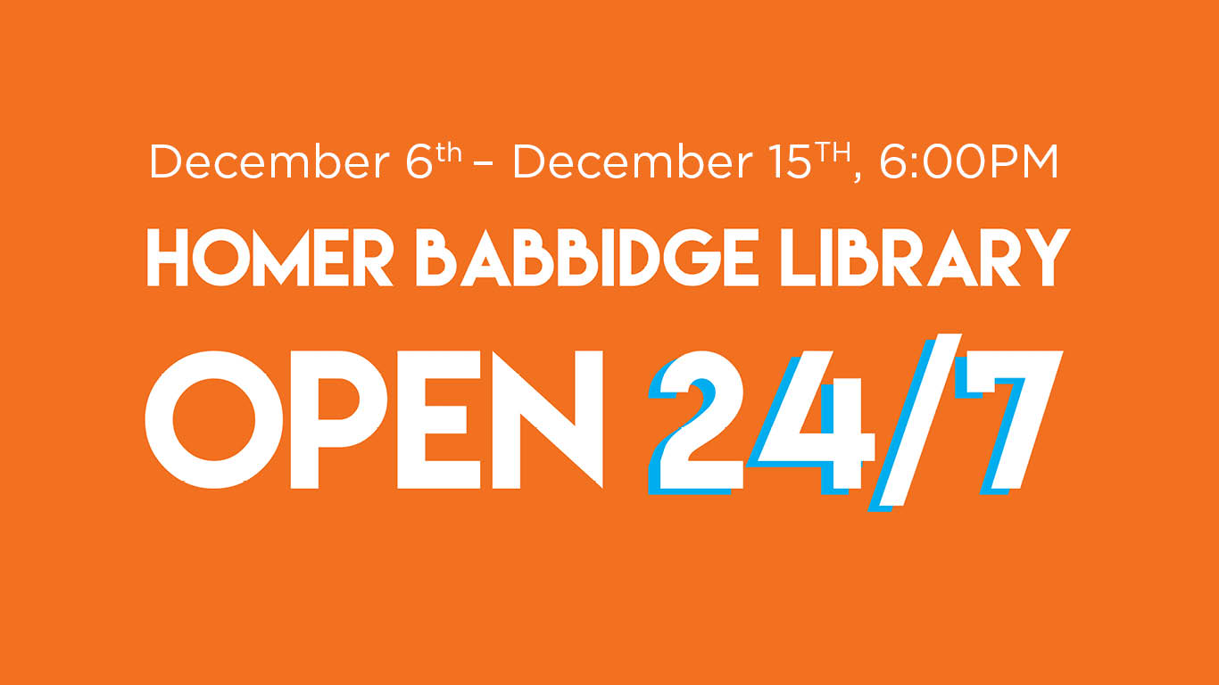 Homer Babbidge Library Open 24/7 Hours from December 6 through December 15 at 6pm