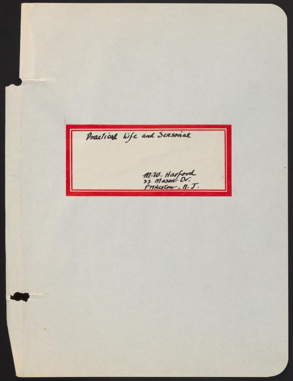 "Mildred Harford's Teacher Training Notebook, ""Practical Life and Sensorial"""