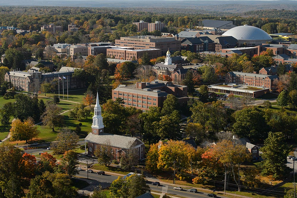 An aerial view of the Storrs Campus on Oct. 9, 2013. (Peter Morenus/UConn Photo