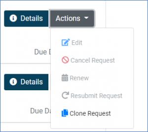 screenshot of renew menu choice