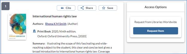 screenshot of Request Item button