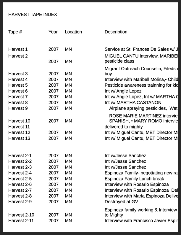 Harvest Tap Log Index